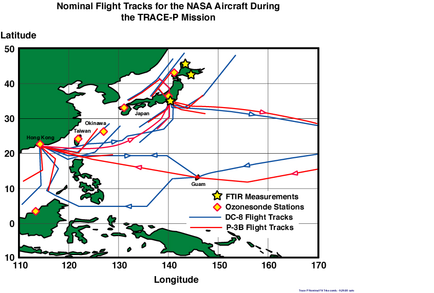 TRACE-P Local Flight Track Map