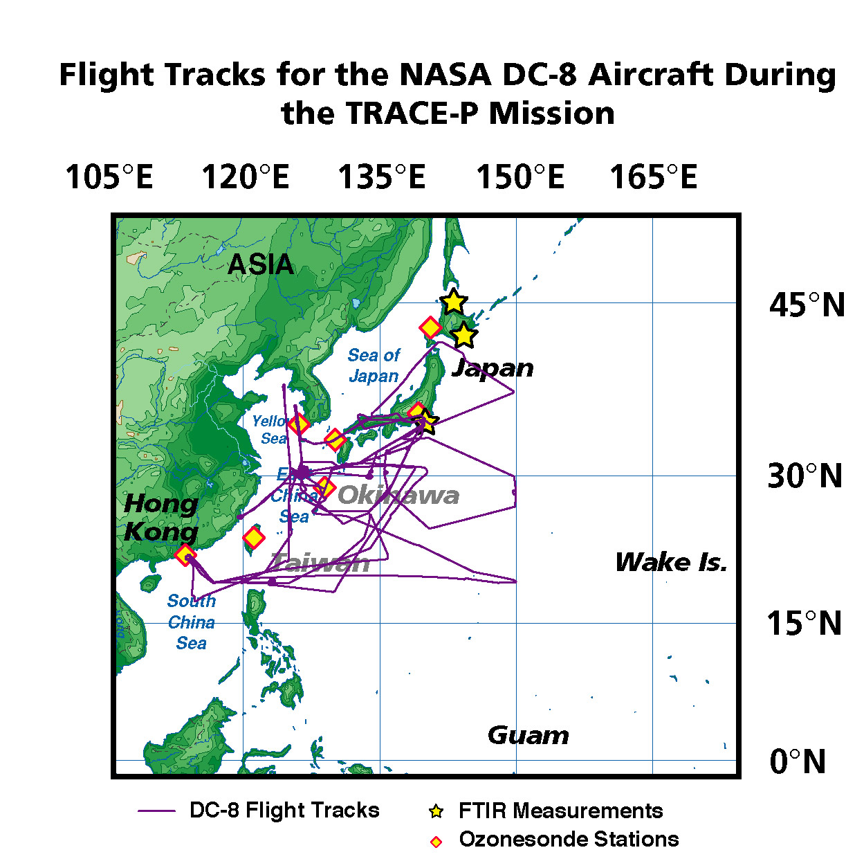 TRACE-P DC-8 Local Flight Track Map